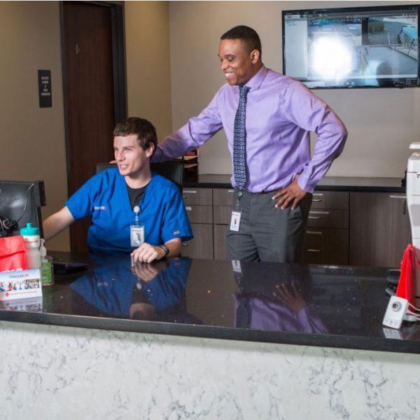 receptionist area view
